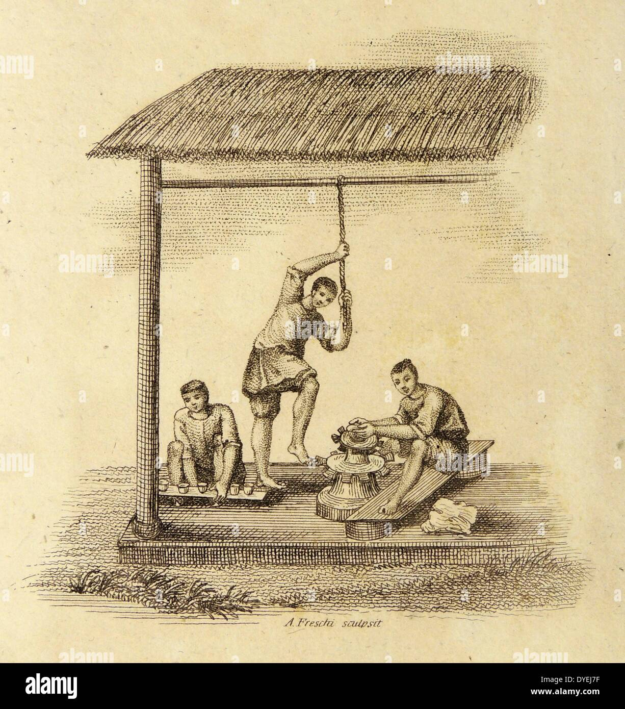 Chinese potter at his wheel, instead the man in the centre, steadying himself by holding a rope, rotates the wheel with his - Stock Image