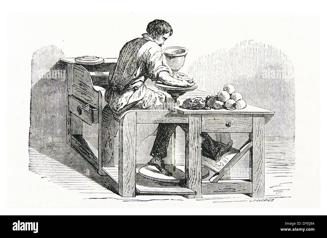 Potter at his wheel forming a vase. In front of him are balls of he can use as necessary. He rotates the wheel with his foot. - Stock Image