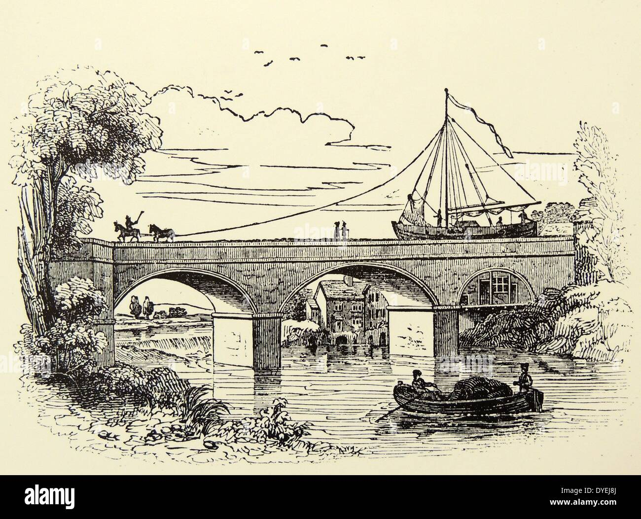 Horse-drawn barge crossing on the Barton viaduct over the river Irwell on the Duke of Bridgewater's canal, built by James Bindley. Engraving, London, 1836. Stock Photo