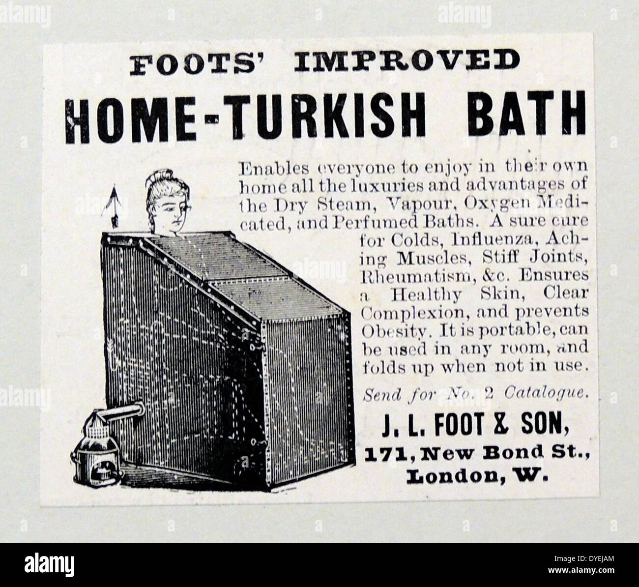 Advertisement for a home Turkish Bath. Engraving, London, 1900. Stock Photo