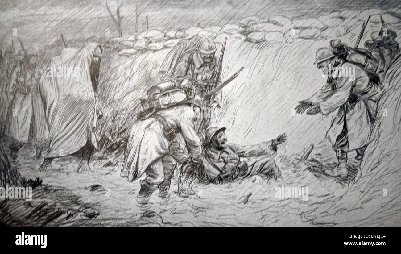 French satirical cartoon depicting humour of life in the trenches - Stock Image