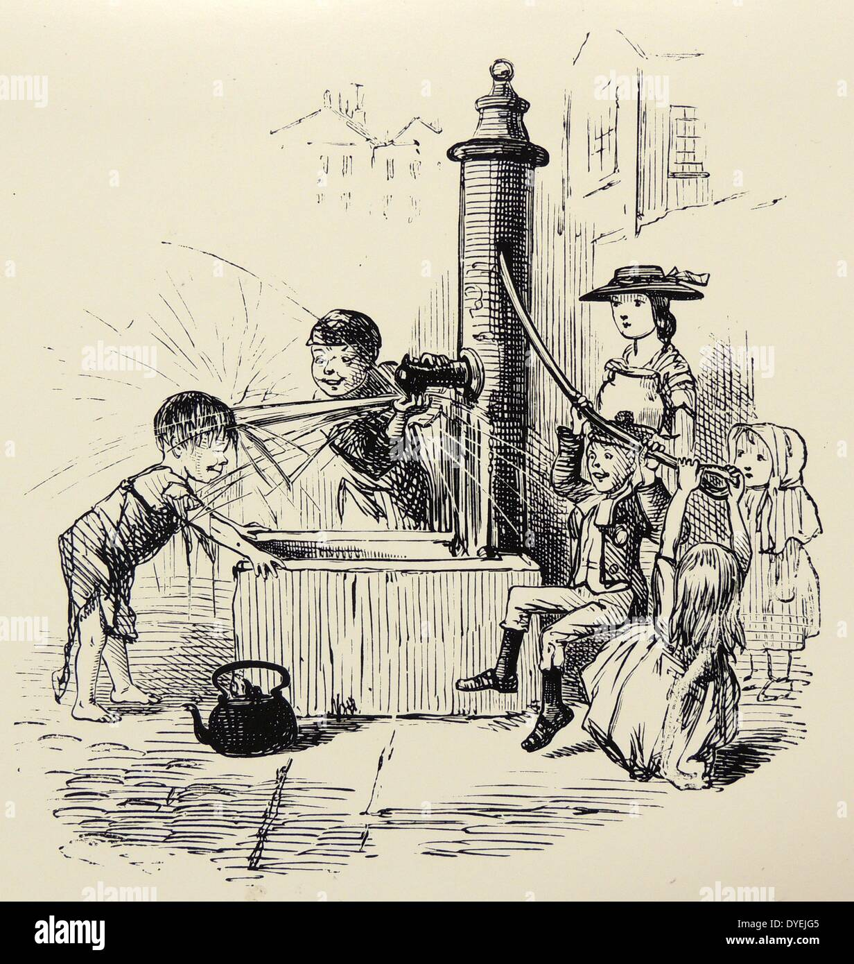 Children playing at a street water pump. John Snow proved that such pumps could be the source of Cholera. Cartoon from - Stock Image