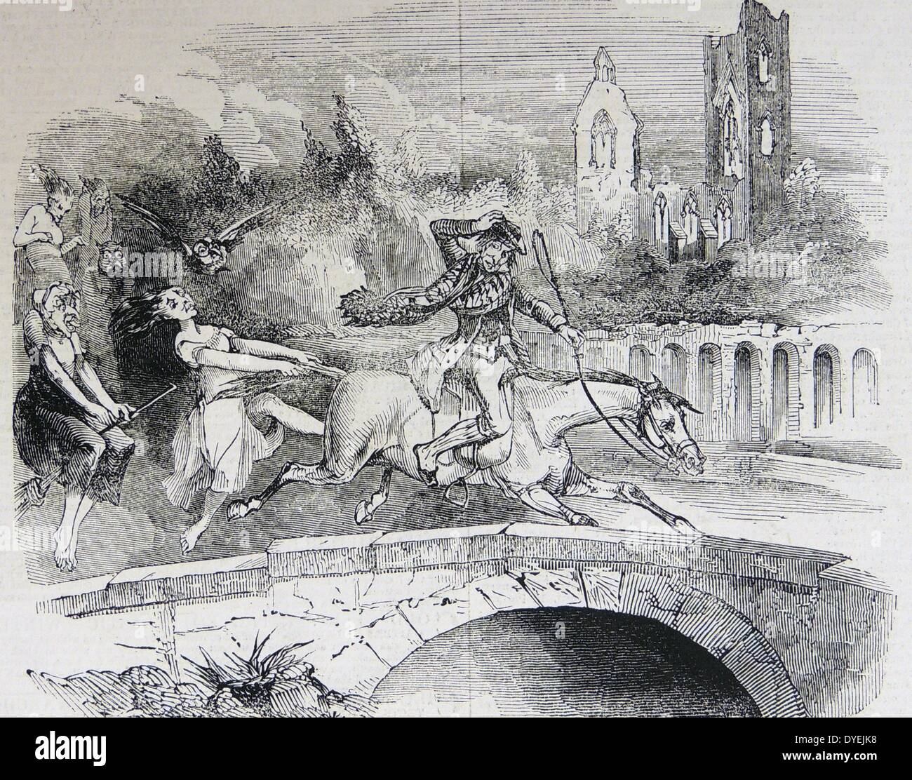 Witches chasing Tam 0'Shanter and his mare - Stock Image