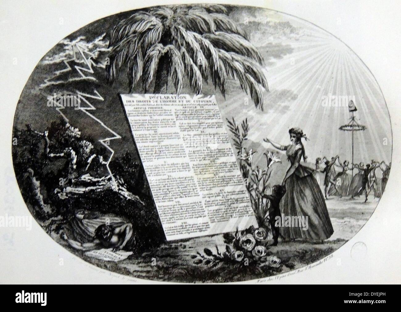 Engraving showing the declaration of the 'Rights of Man' - Stock Image