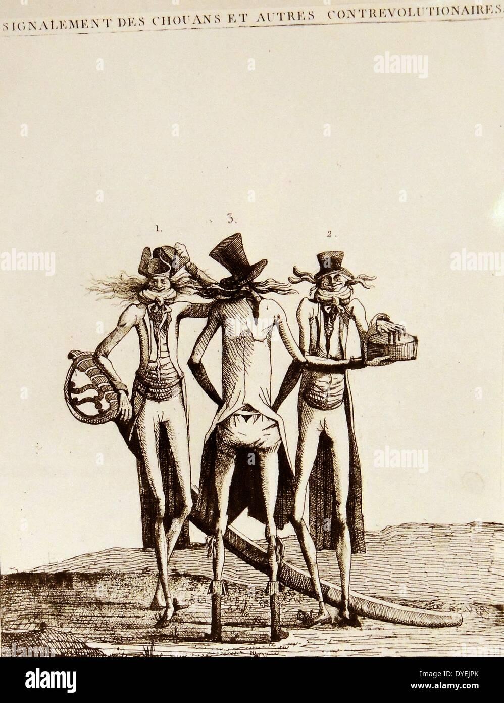 Signalement de chouans et autre contre-revolutionnaires Caricature - Stock Image