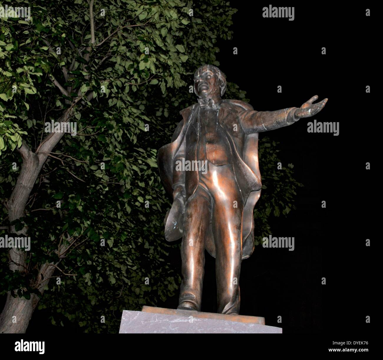 Night-time View of David Lloyd George  Statue London 2013. - Stock Image