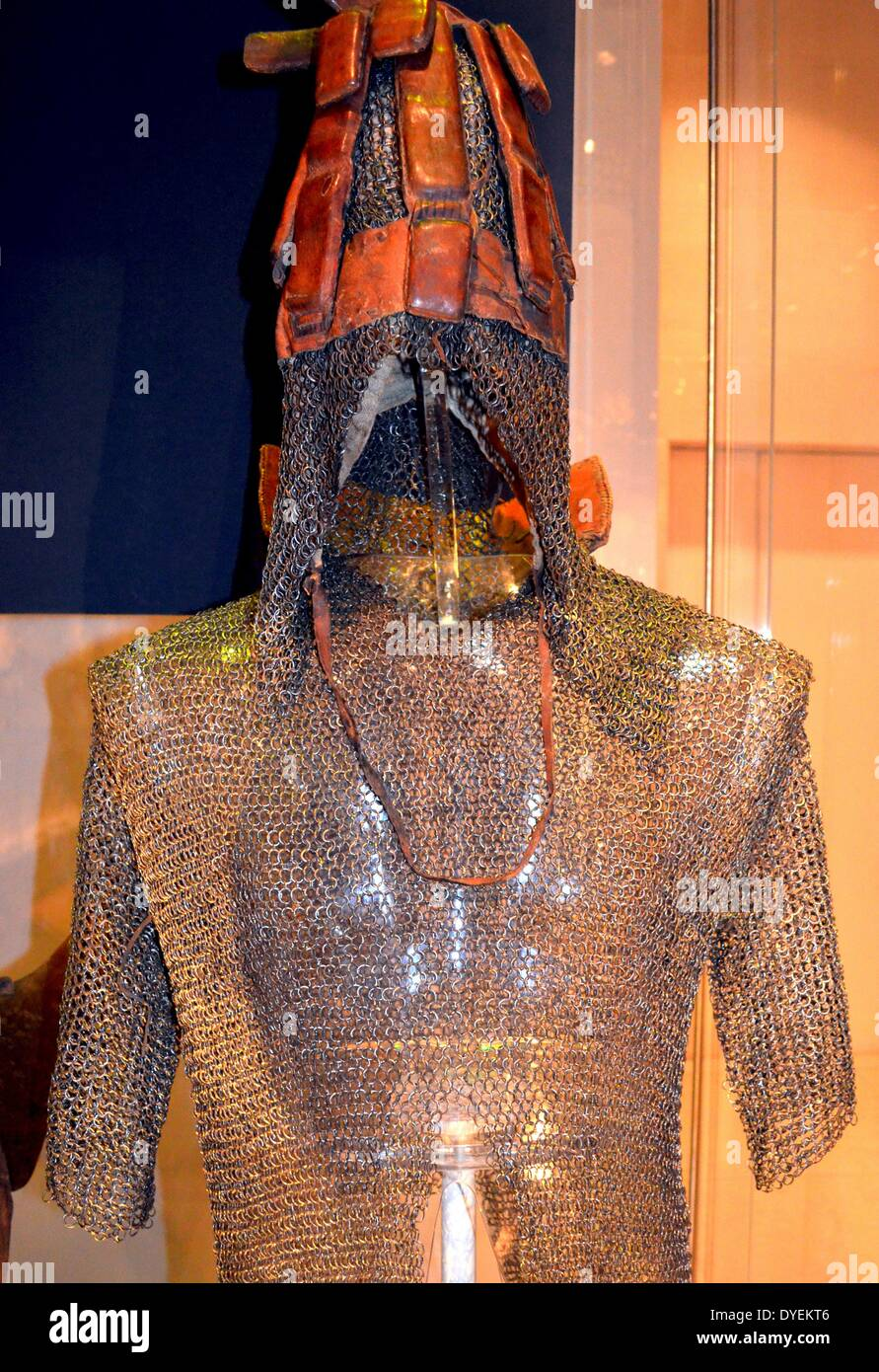 Helmet and Jacket 1922. Made from leather, cloth and chain mail. - Stock Image