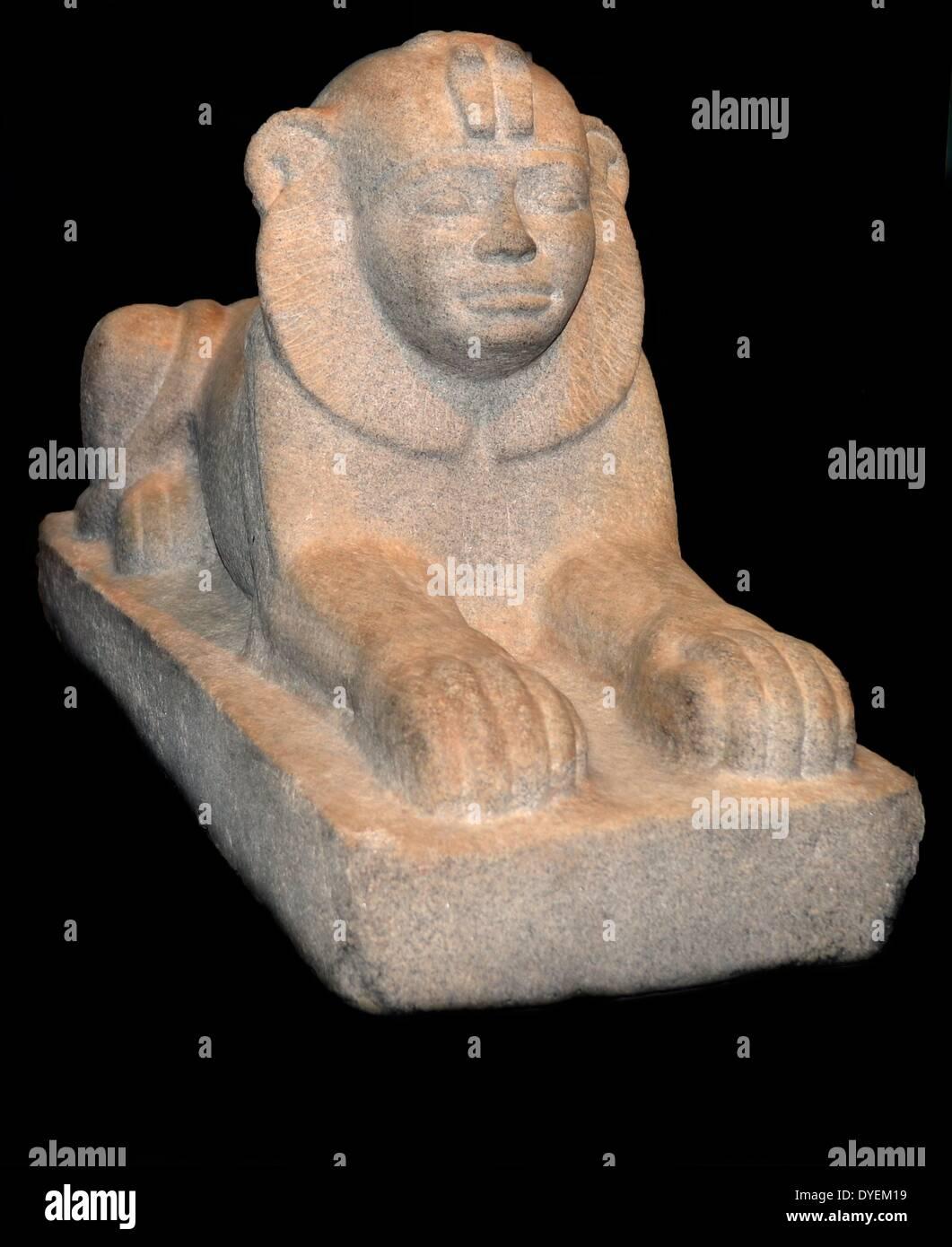 The Granite Sphinx of Taharqo 680 B.C. From Temple T at Kawa, Sudan. - Stock Image