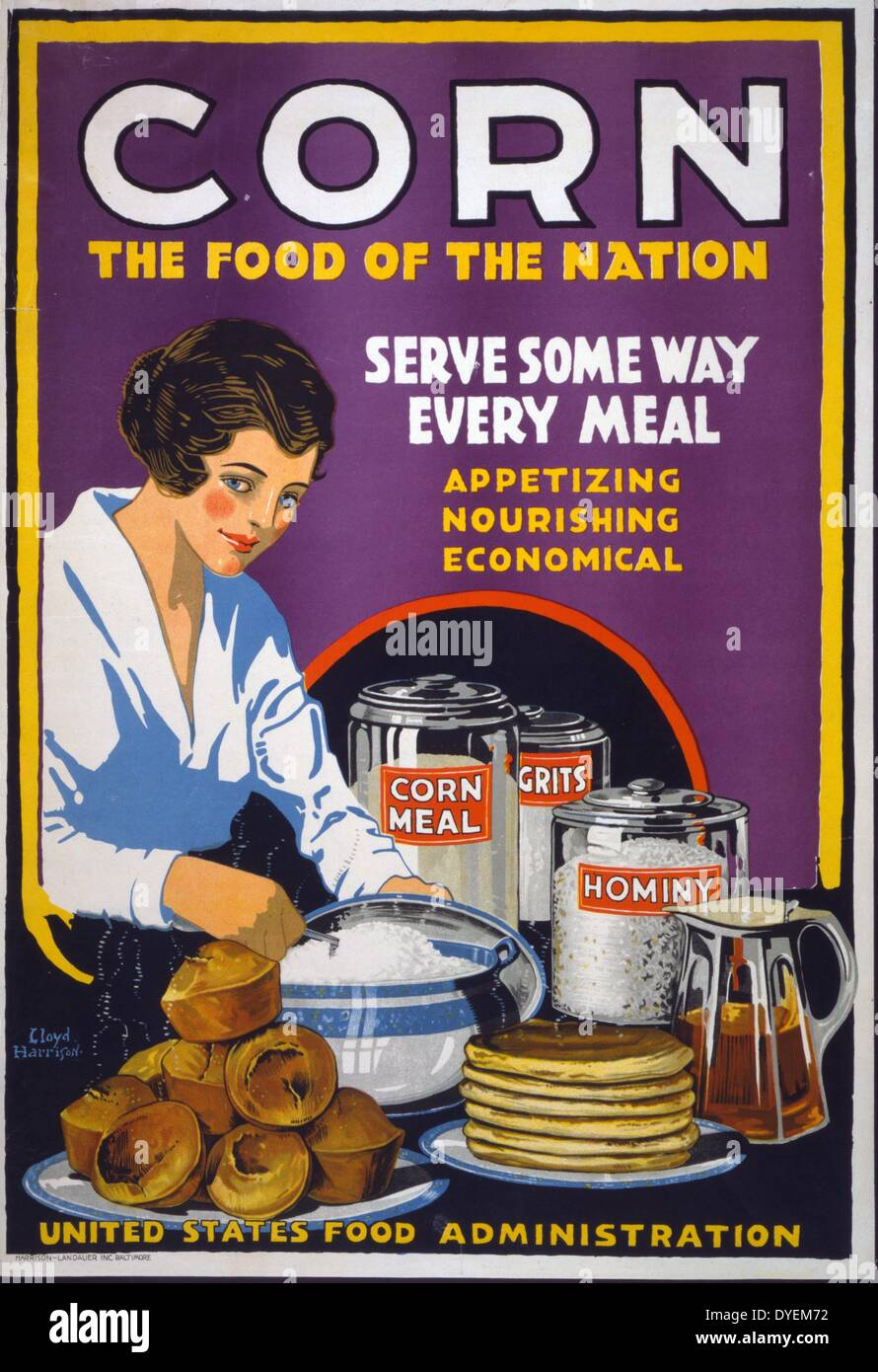 World War I American propaganda poster showing a woman serving muffins, pancakes, and grits, with canisters on the table - Stock Image