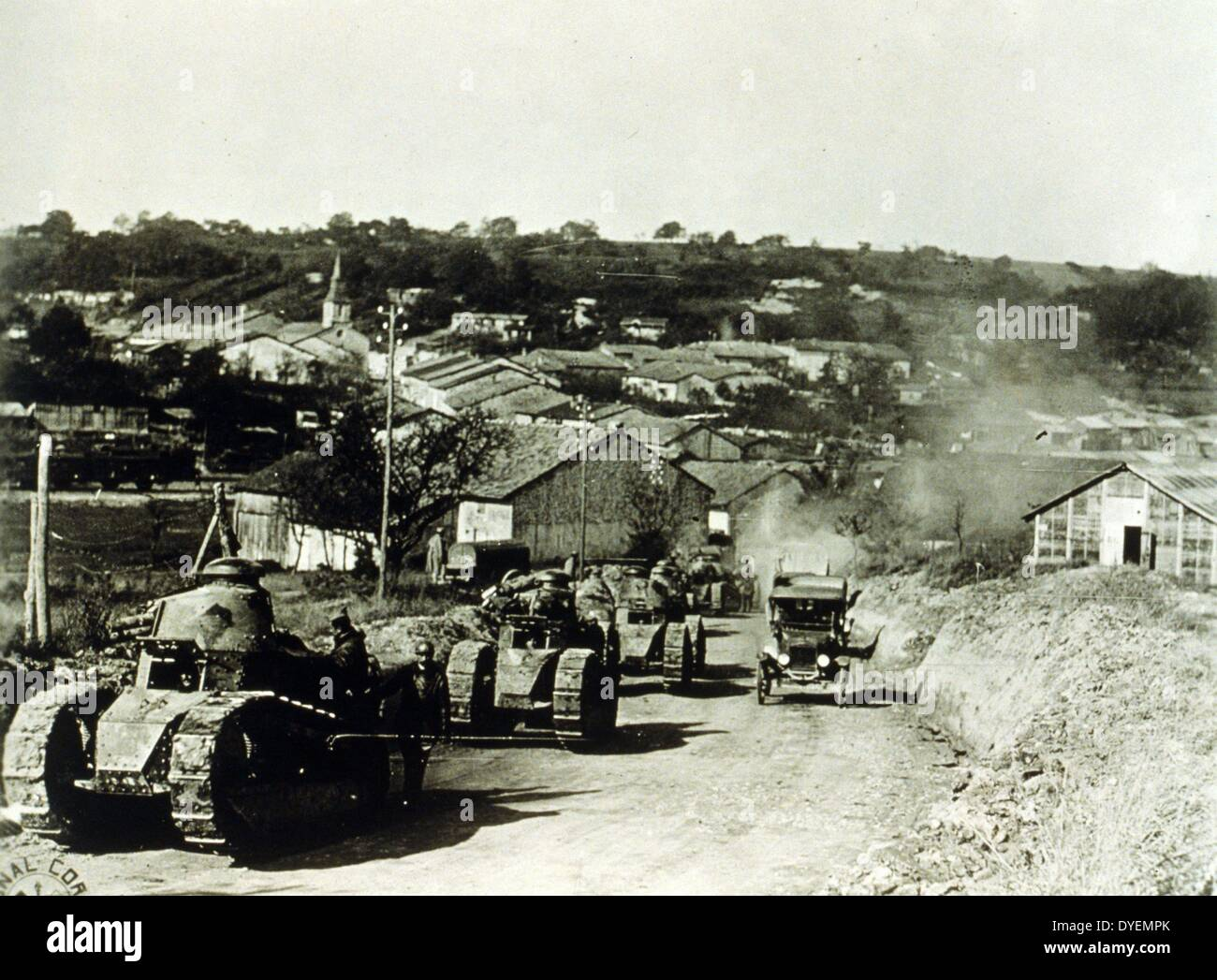 US Army, 337th Co, 13 Bat 505th Reg--French tanks passing thru Rampont, France during World War I, dated 1918. - Stock Image