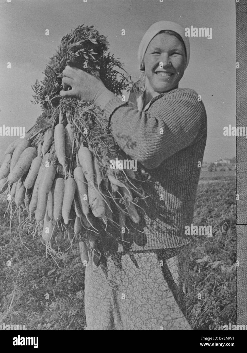 Marusya Sukhova with carrots grown on a collective farm in the Gorki region in the USSR - Stock Image