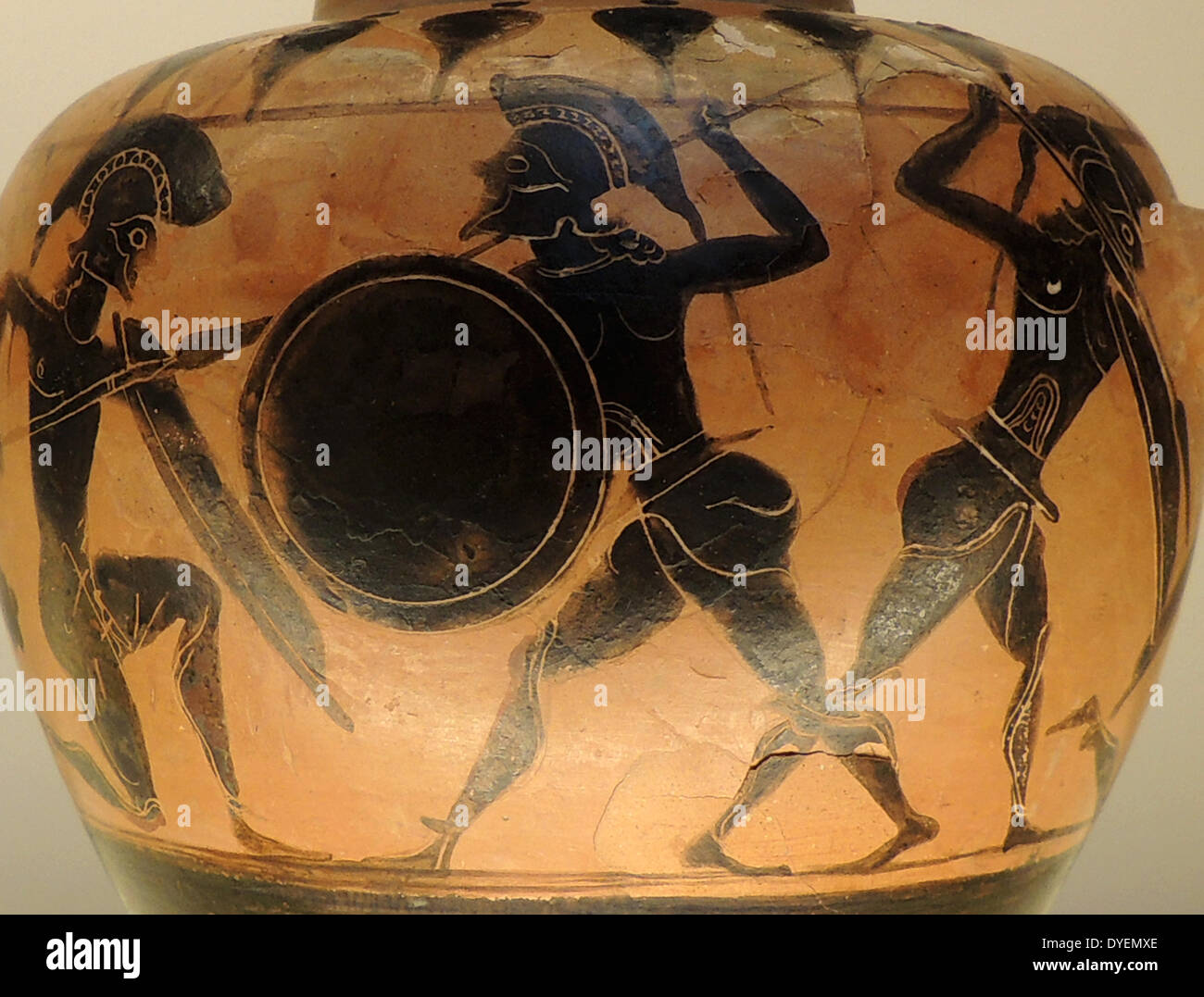Small Black figured Hydra (Water Jar), depicting warriors fighting. Greco-Italian made in Italy 550-540 BC - Stock Image
