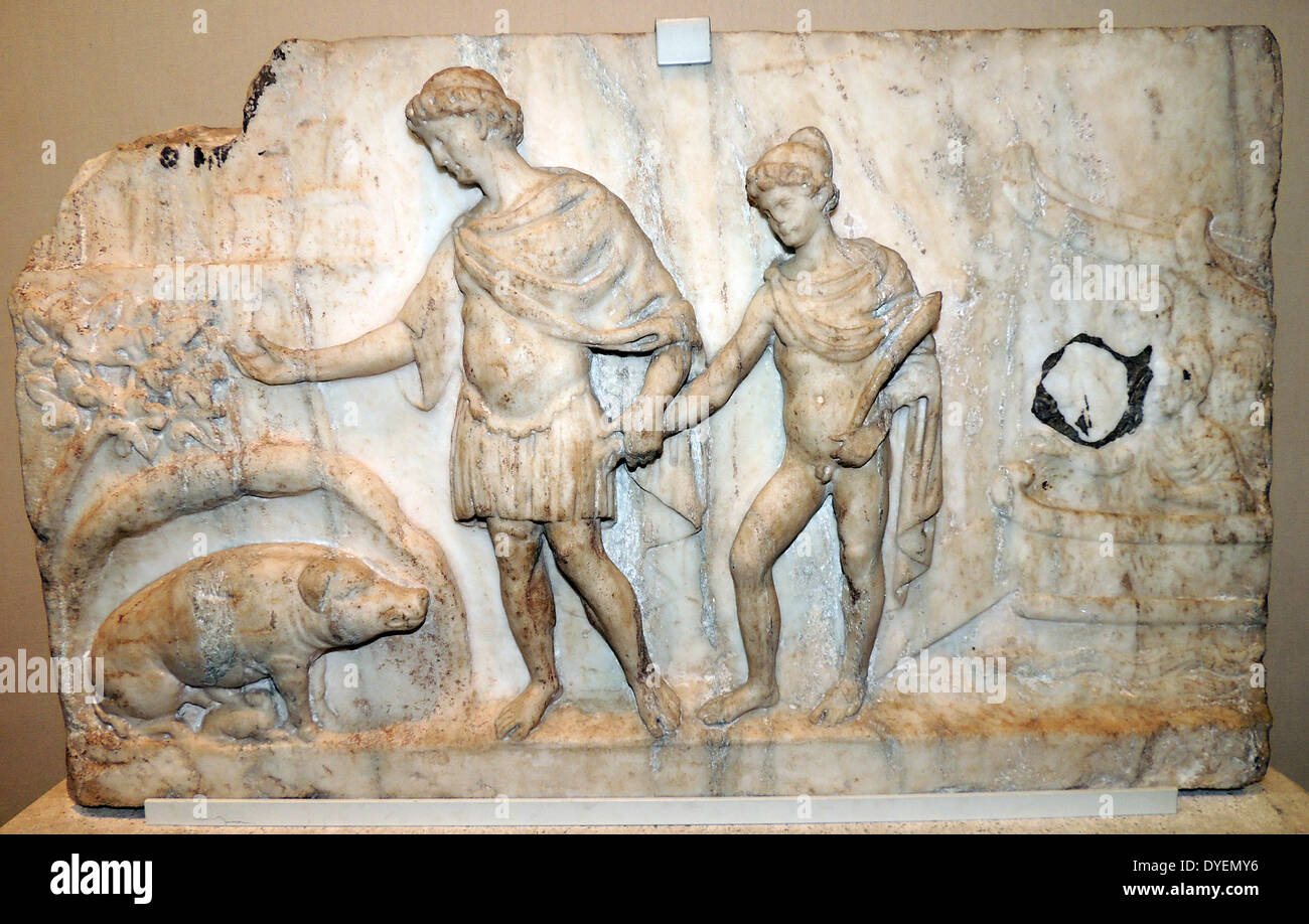 Marble relief depicting the arrival of Aeneas with a companion in Italy. Roman made 140-150AD. - Stock Image