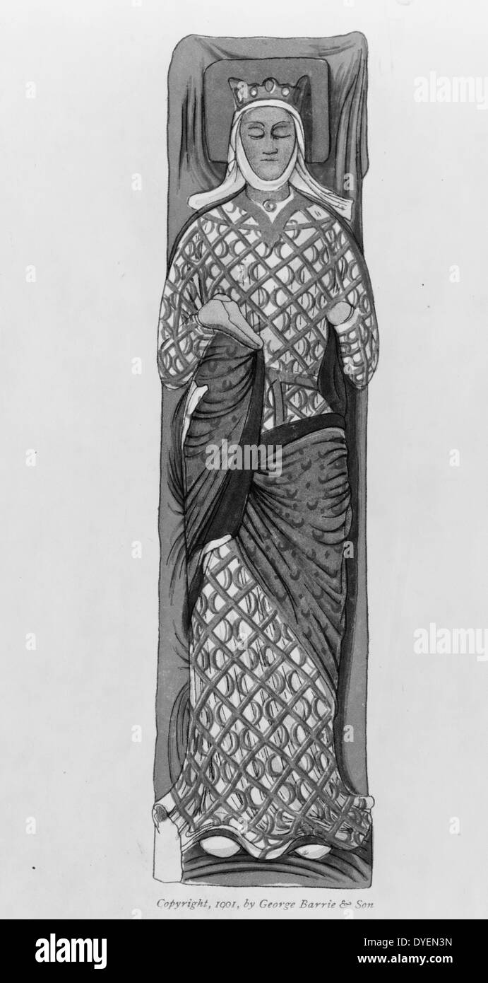 Enamelled stone effigy of Eleanor of Aquitaine - Stock Image