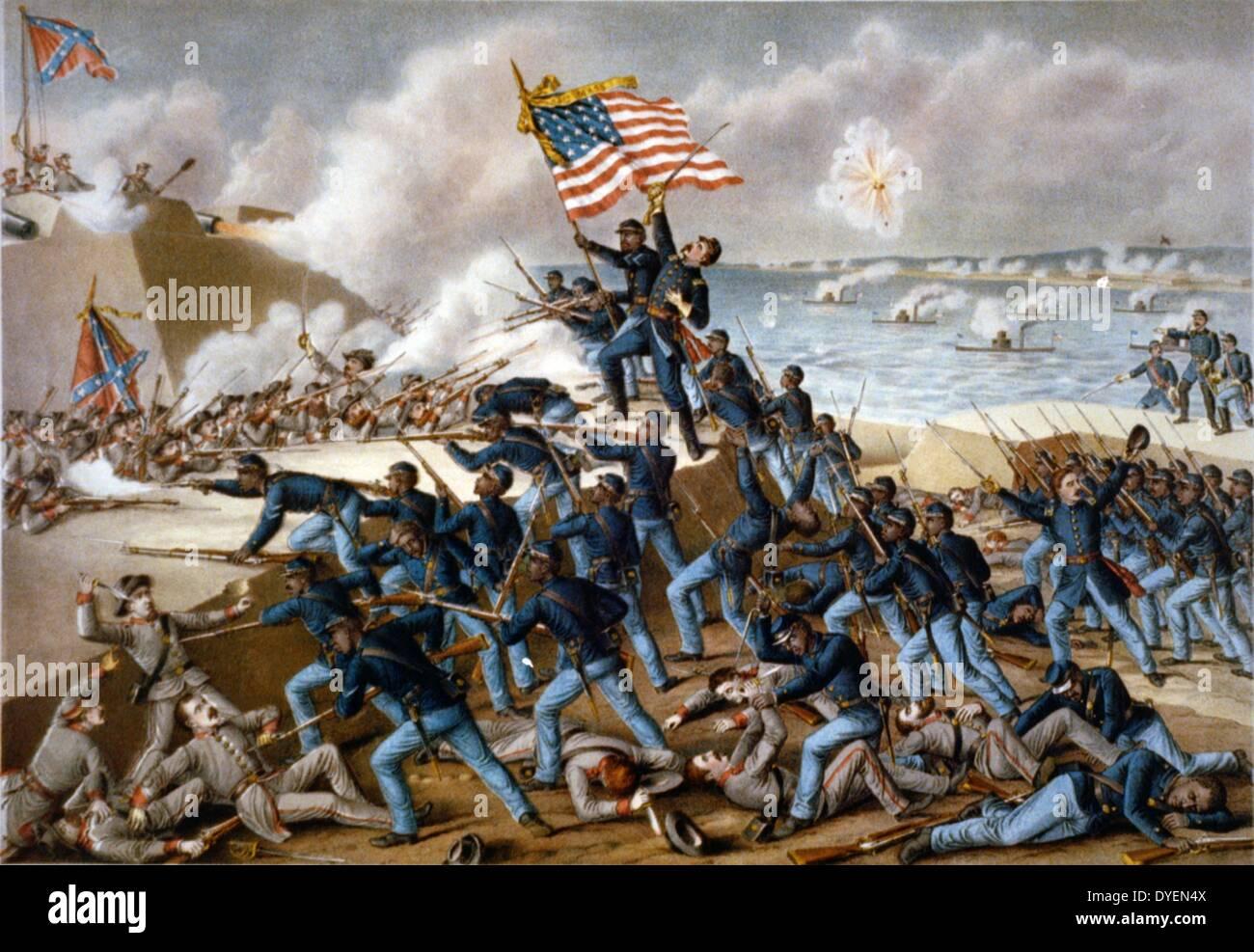 Storming Fort Wagner, American civil war - Stock Image