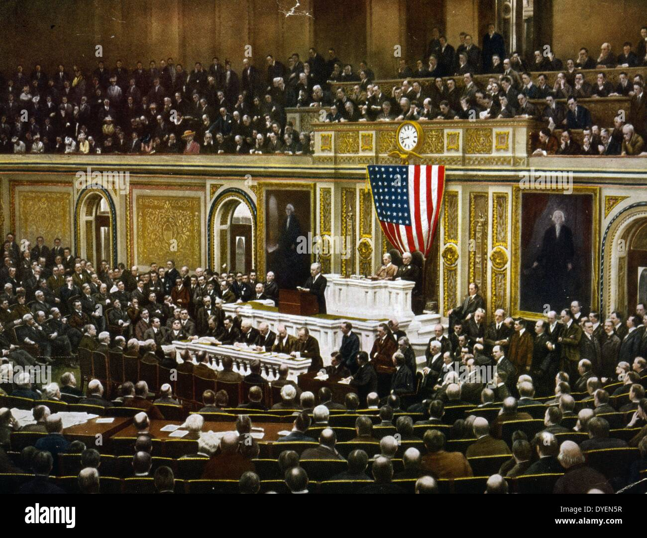 American president, Woodrow Wilson asking Congress to declare war on Germany, in 1917. - Stock Image
