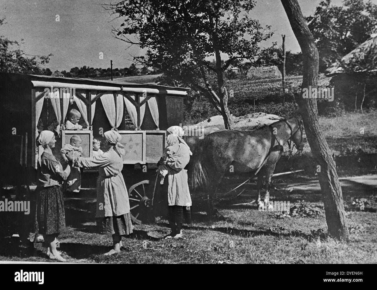 Collective farm nursery-on-wheels in the USSR (Union of Soviet Socialist Republics). between 1930 and 1940 - Stock Image