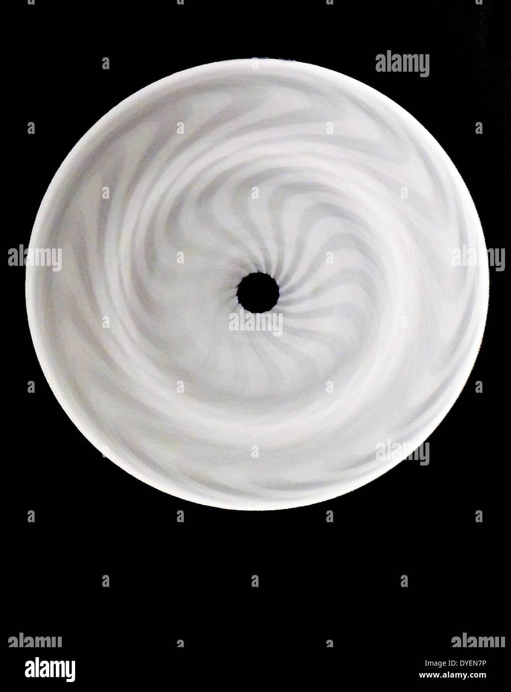 Black and white spiral optical illusion. - Stock Image