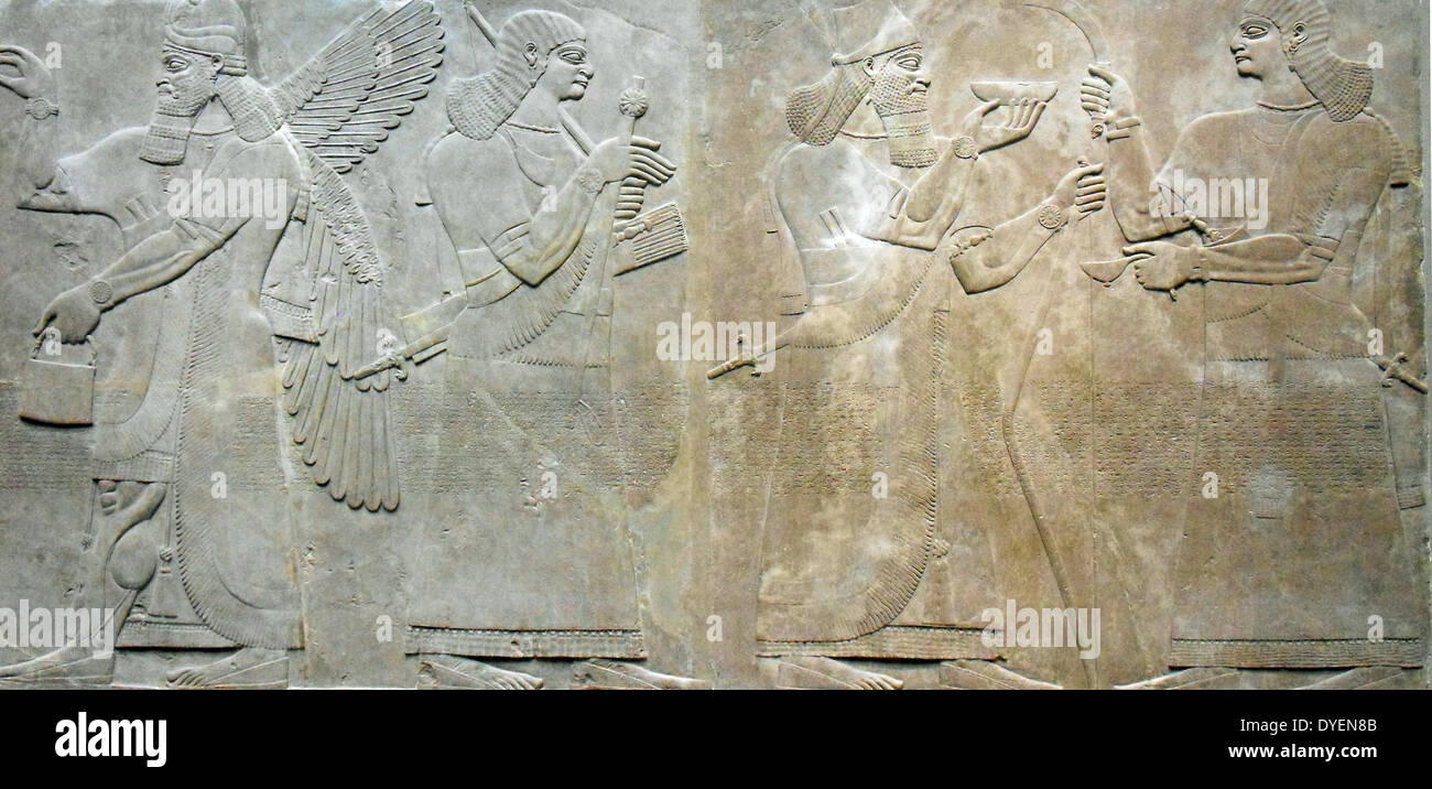 relief depicting a king and eunuch attendant, 883–859 b.c.; Neo–Assyrian period, reign of Ashurnasirpal II. Excavated Stock Photo