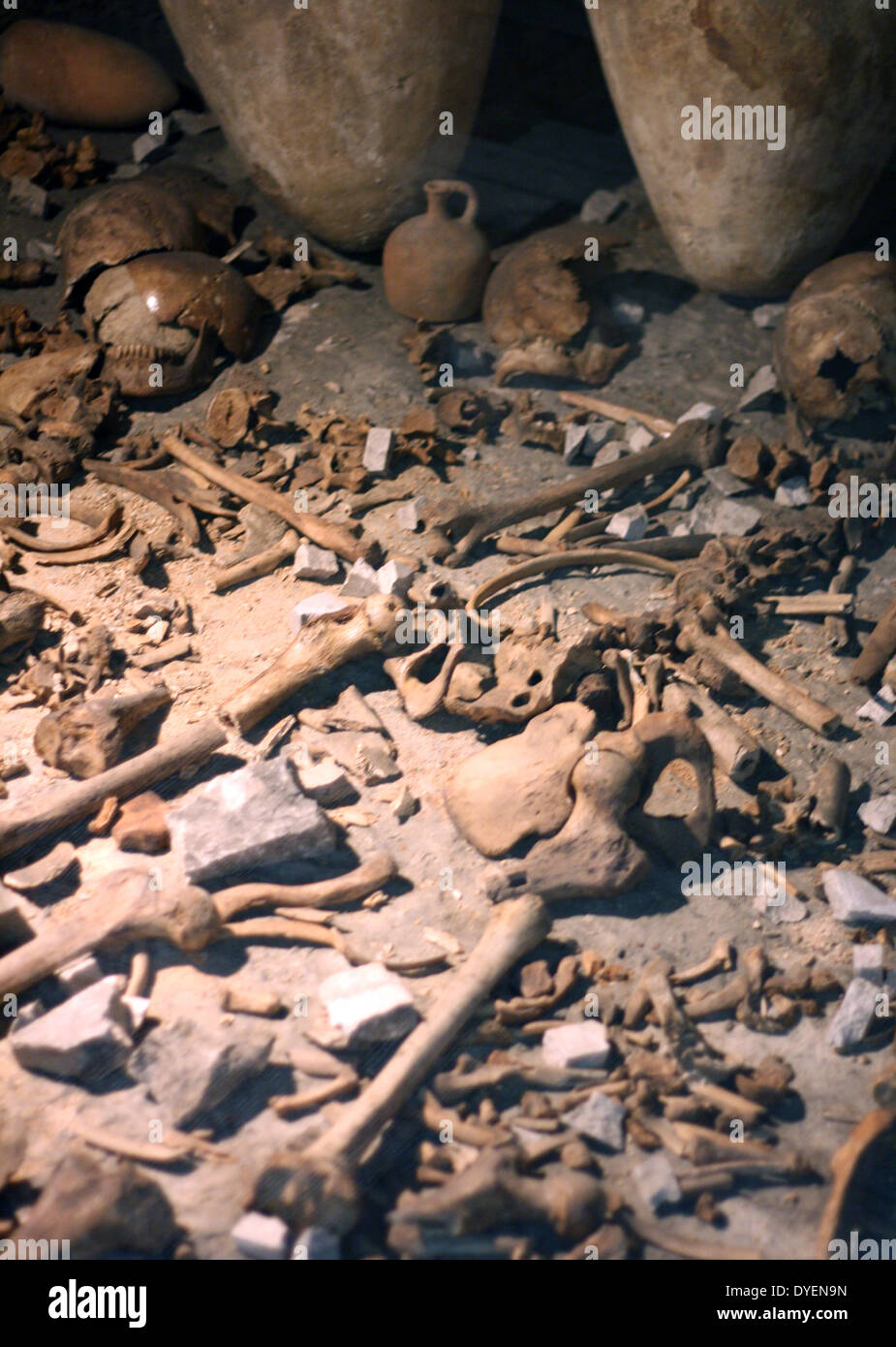 Jericho Tomb G1 (Bronze age tomb from 1700BC rediscovered in the 1950's. contains alabaster jars, bones and wooden objects. - Stock Image
