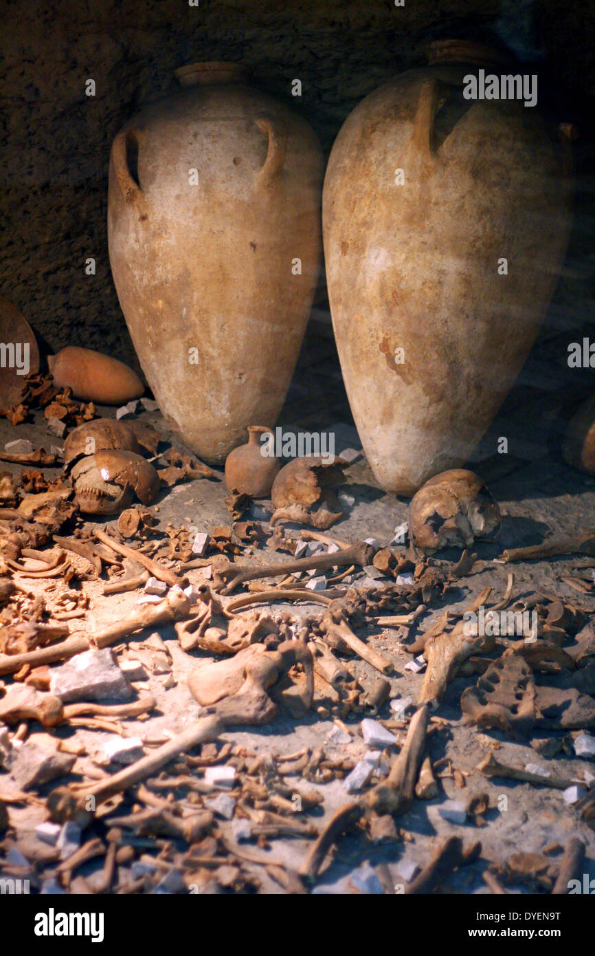 Jericho Tomb G1 (Bronze age tomb from 1700BC rediscovered in the 1950's. contains alabaster jars, bones and wooden Stock Photo