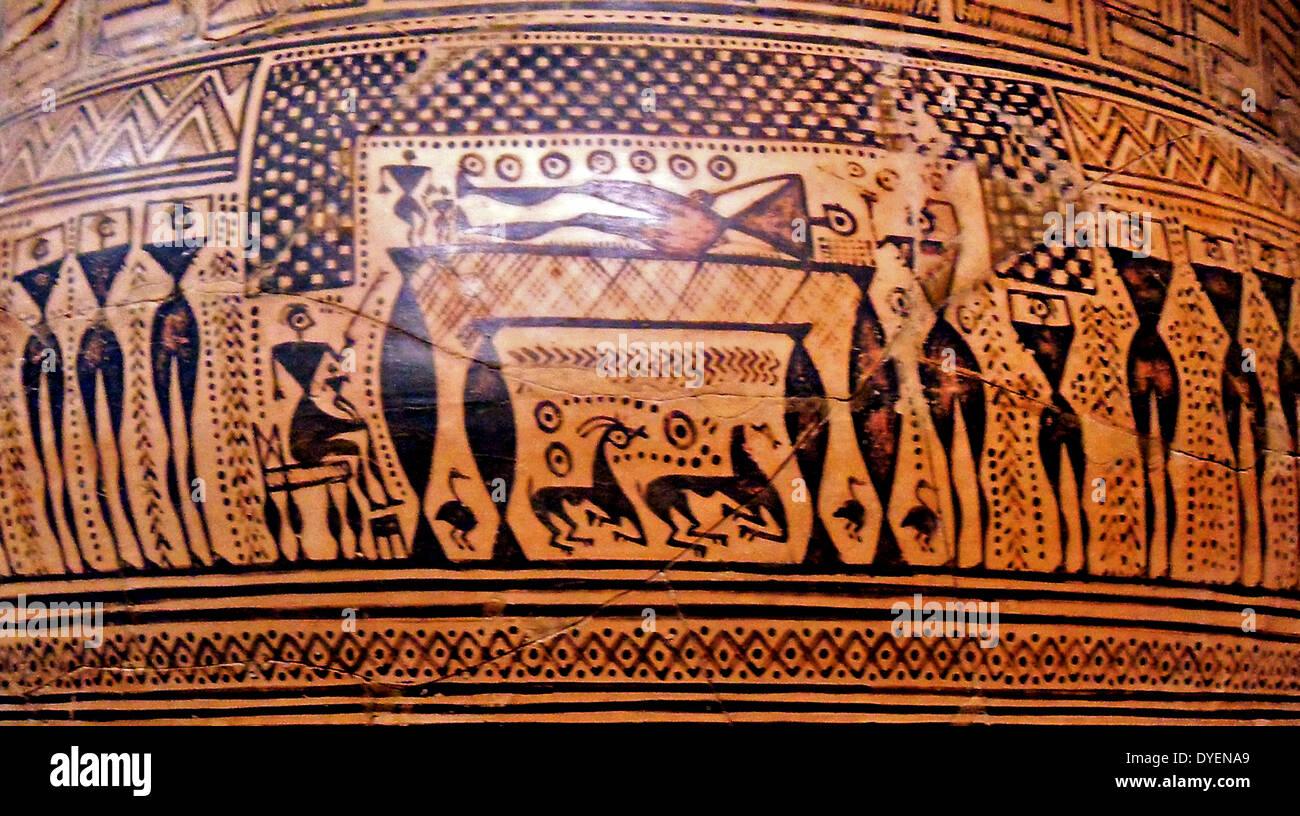 Terracotta Krater (Large vase), Greek, 725BC  Depicts a funeral scene - Stock Image