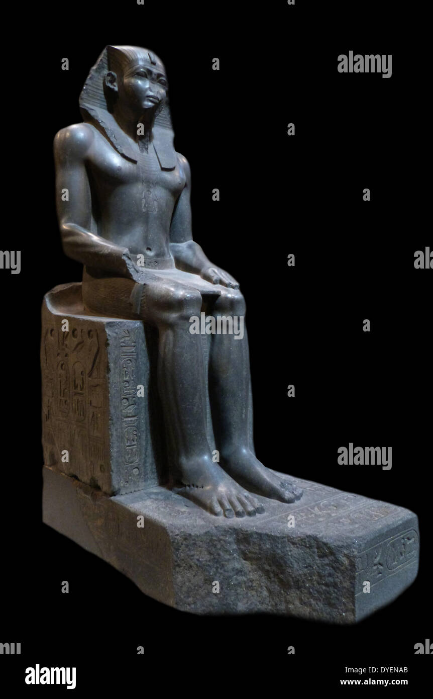 Colossal seated statue of an Egyptian pharaoh. Possible Amenemhat II (1919-1885 BC - Stock Image