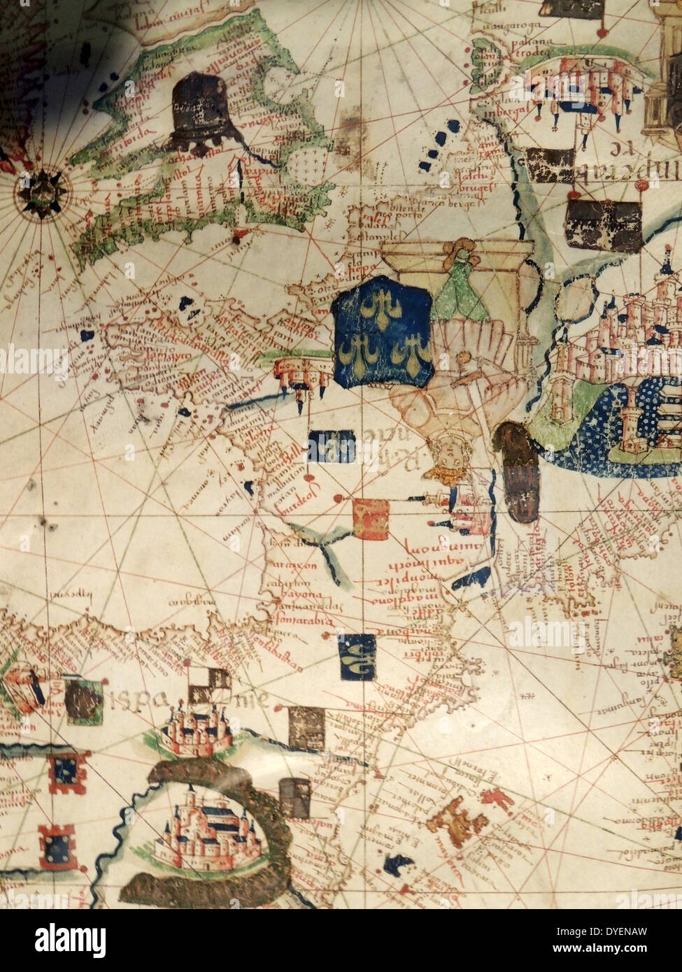 France depicted in Jacopo Russo Map of the world 16th century circa 1528 - Stock Image