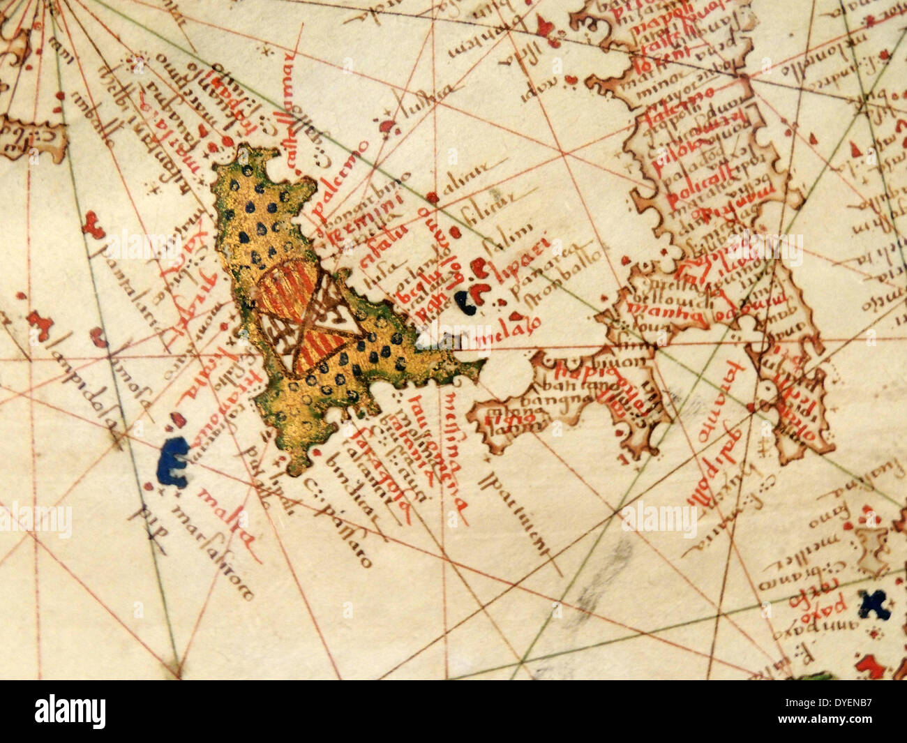 Italy and Sicily depicted in Jacopo Russo Map of the world 16th century circa 1528 - Stock Image