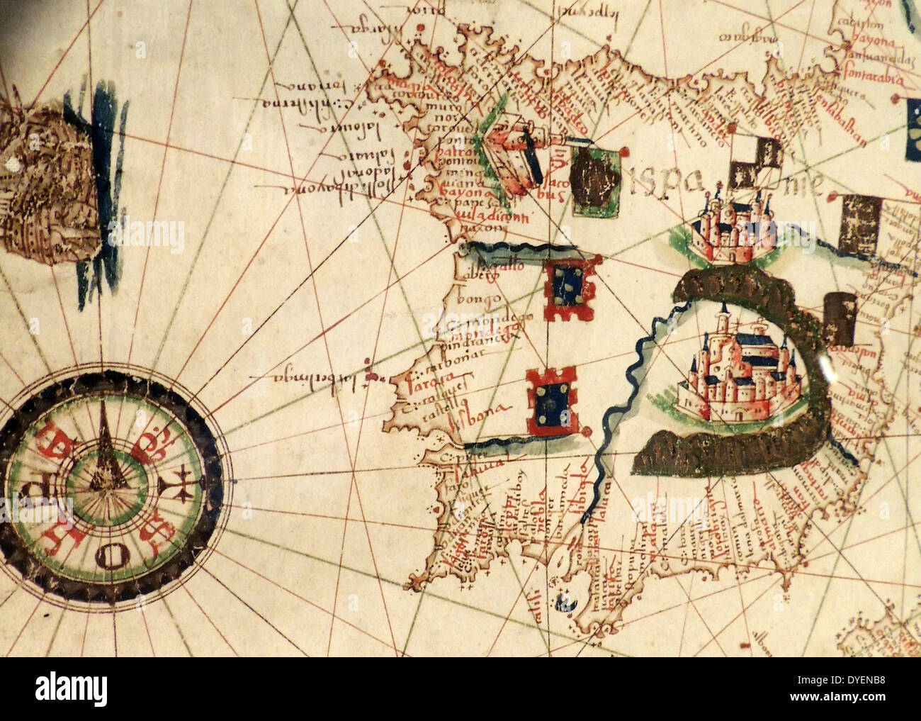 Spain and Portugal depicted in Jacopo Russo Map of the world 16th century circa 1528 - Stock Image