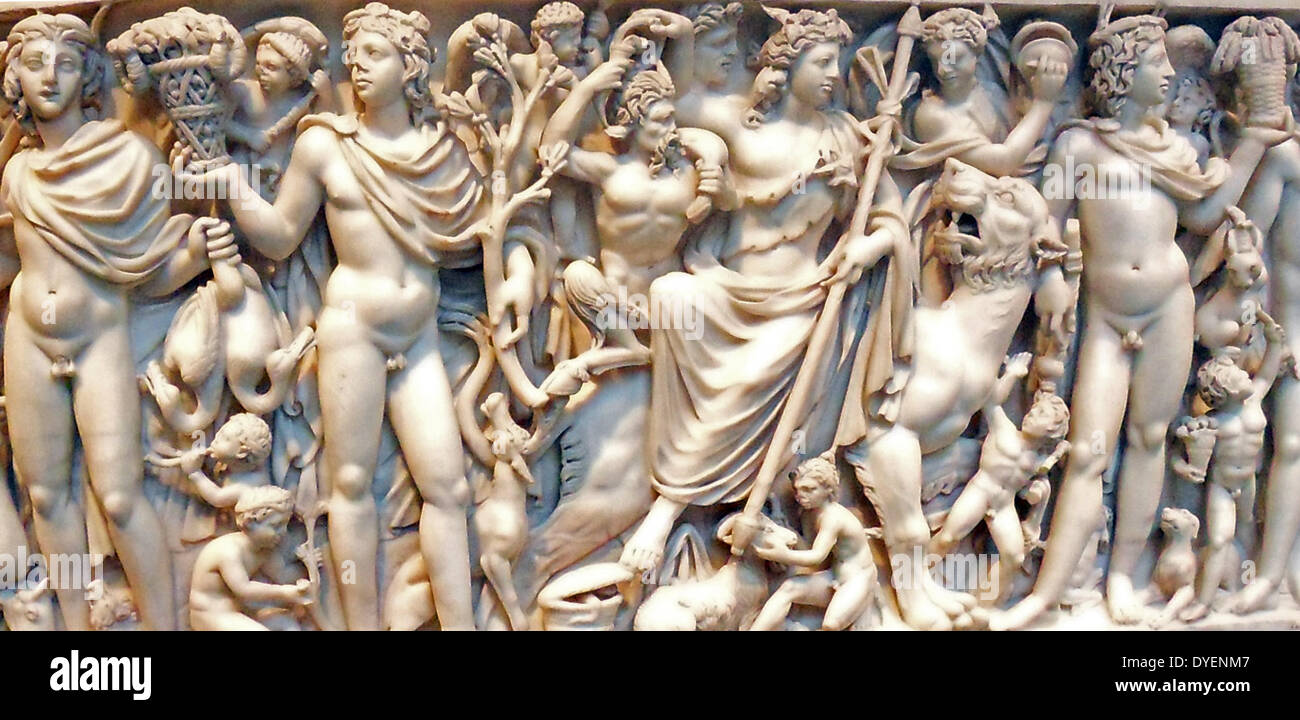 marble sarcophagus with the myth of Selene and endymion,  early 3rd century A.D. Roman. - Stock Image