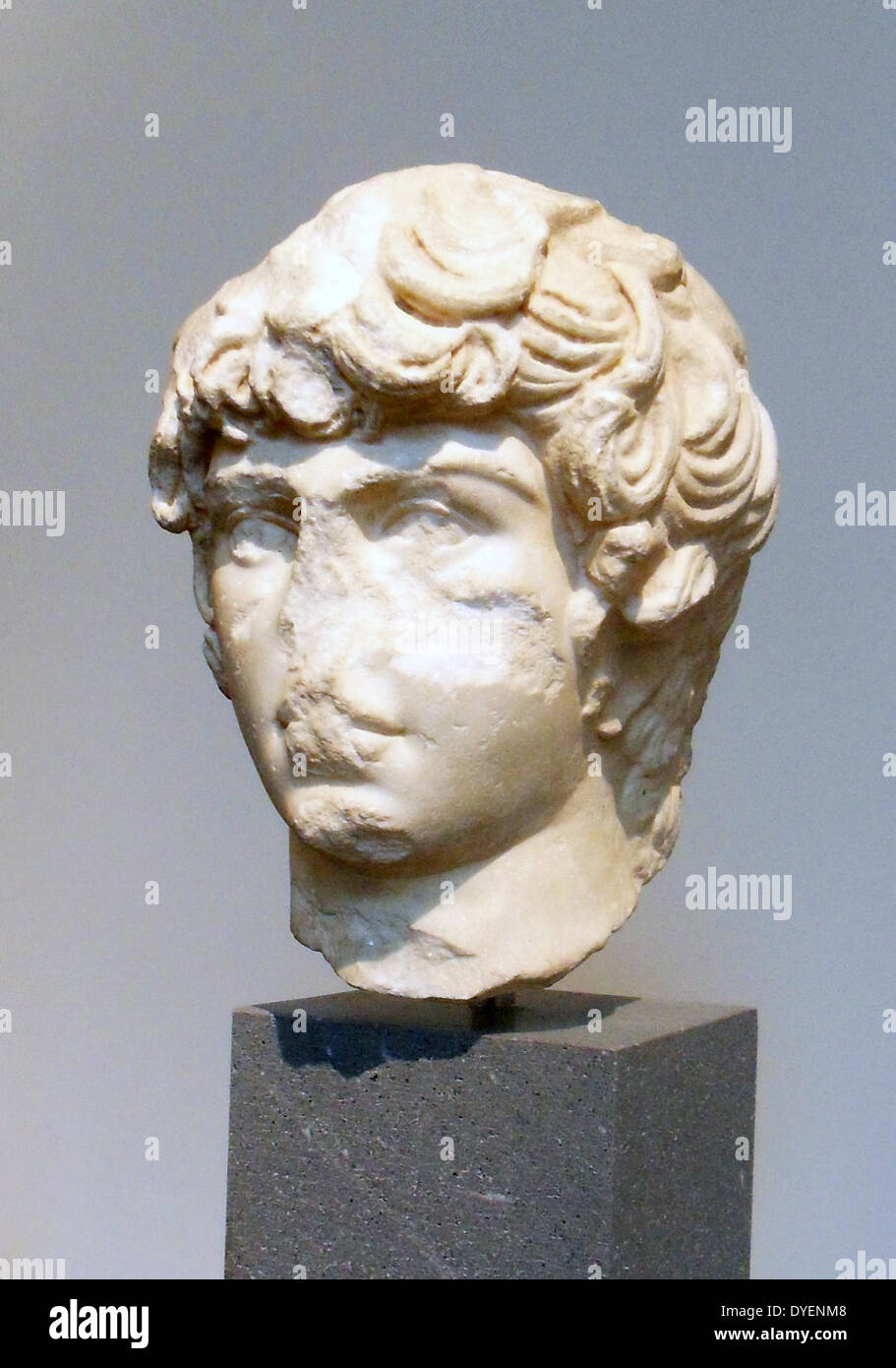 Marble portrait head of Antinous ca. A.D. 130-138, - Stock Image
