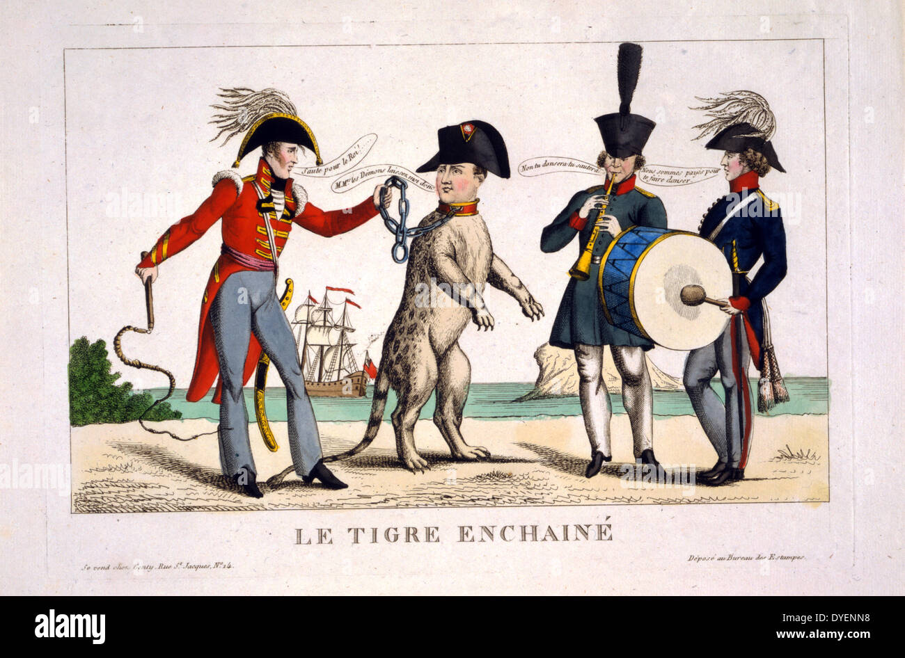 Le tigre enchainé 1815. Cartoon showing Napoleon I as a tiger in chains - Stock Image
