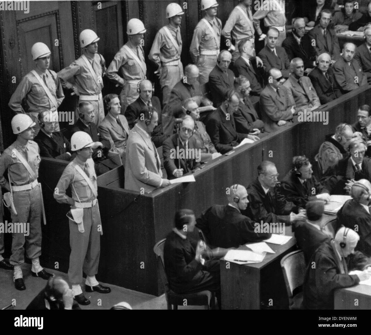 Hermann Goering Makes Final Statement To The International Military Tribunal at Nuremberg - Stock Image