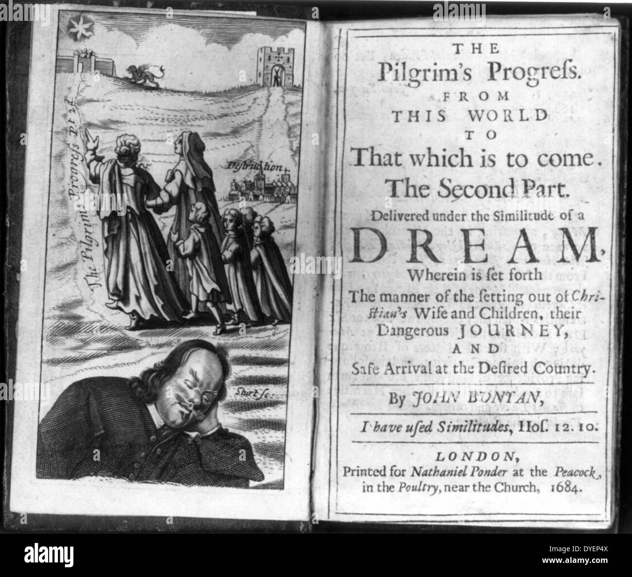 Frontis and title page from The Pilgrim's Progress by John Bunyan; shows author dreaming and pilgrims progressing from a copy - Stock Image