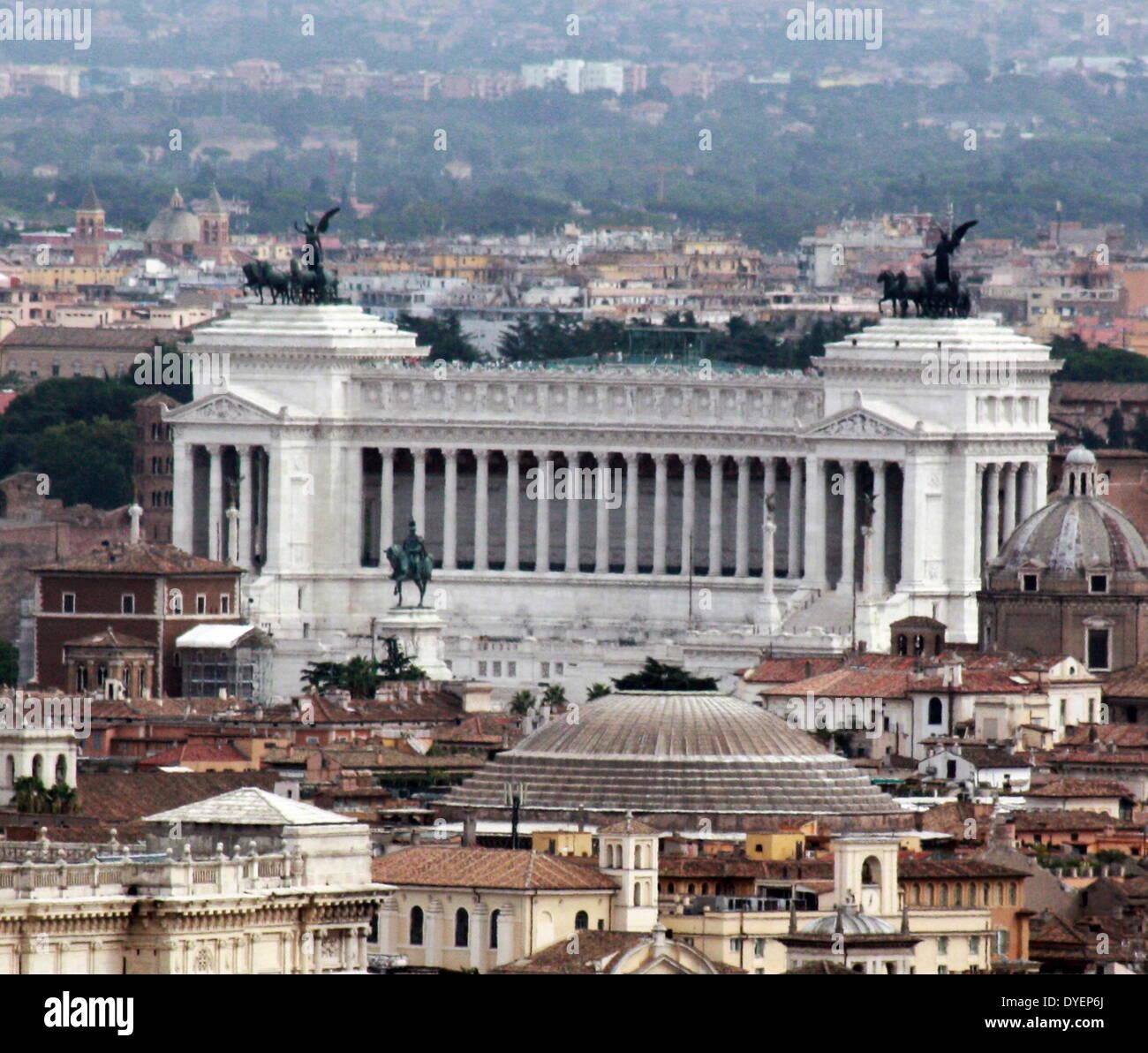 The Monumento Nazionale a Vittorio Emanuele II or 'Il Vittoriano' is a monument in Rome - Stock Image