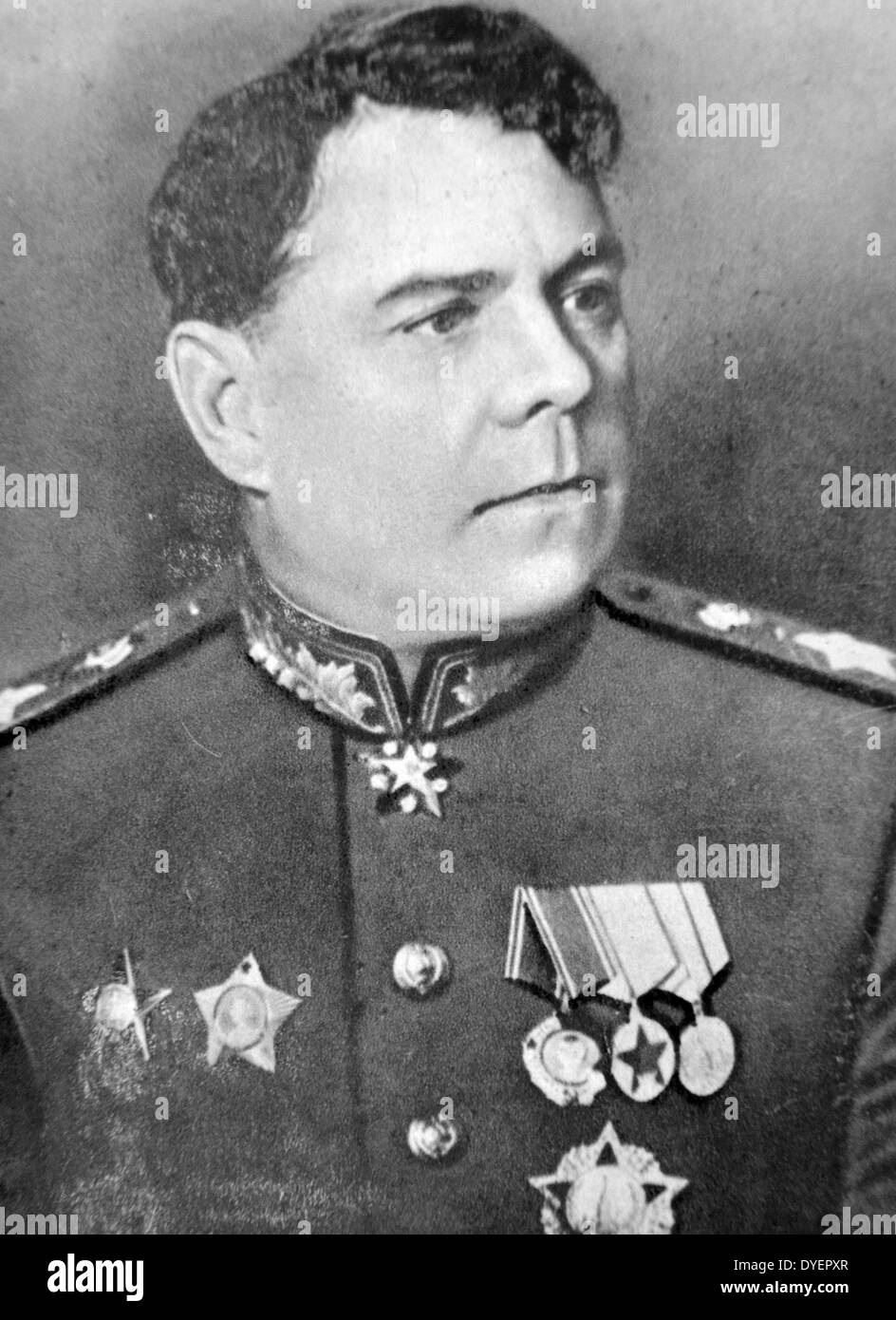 Aleksandr Mikhailovich Vasilevsky (1895 - 1977) was a Russian career officer in the Red Army who was promoted to Stock Photo