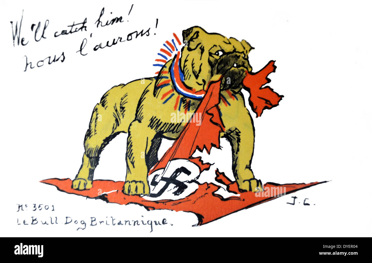 French world war two postcard showing the British Bulldog wrapped in