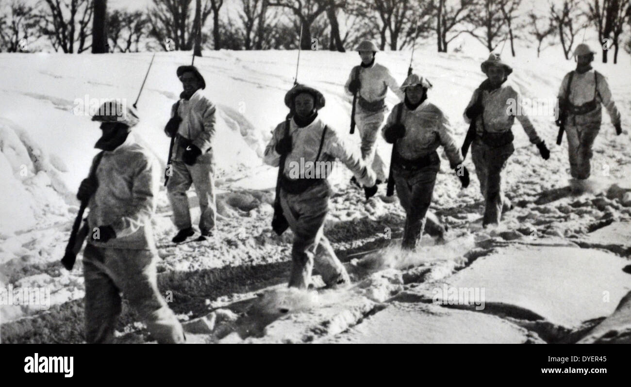 British soldiers on the western front winter 1939  World War Two. - Stock Image