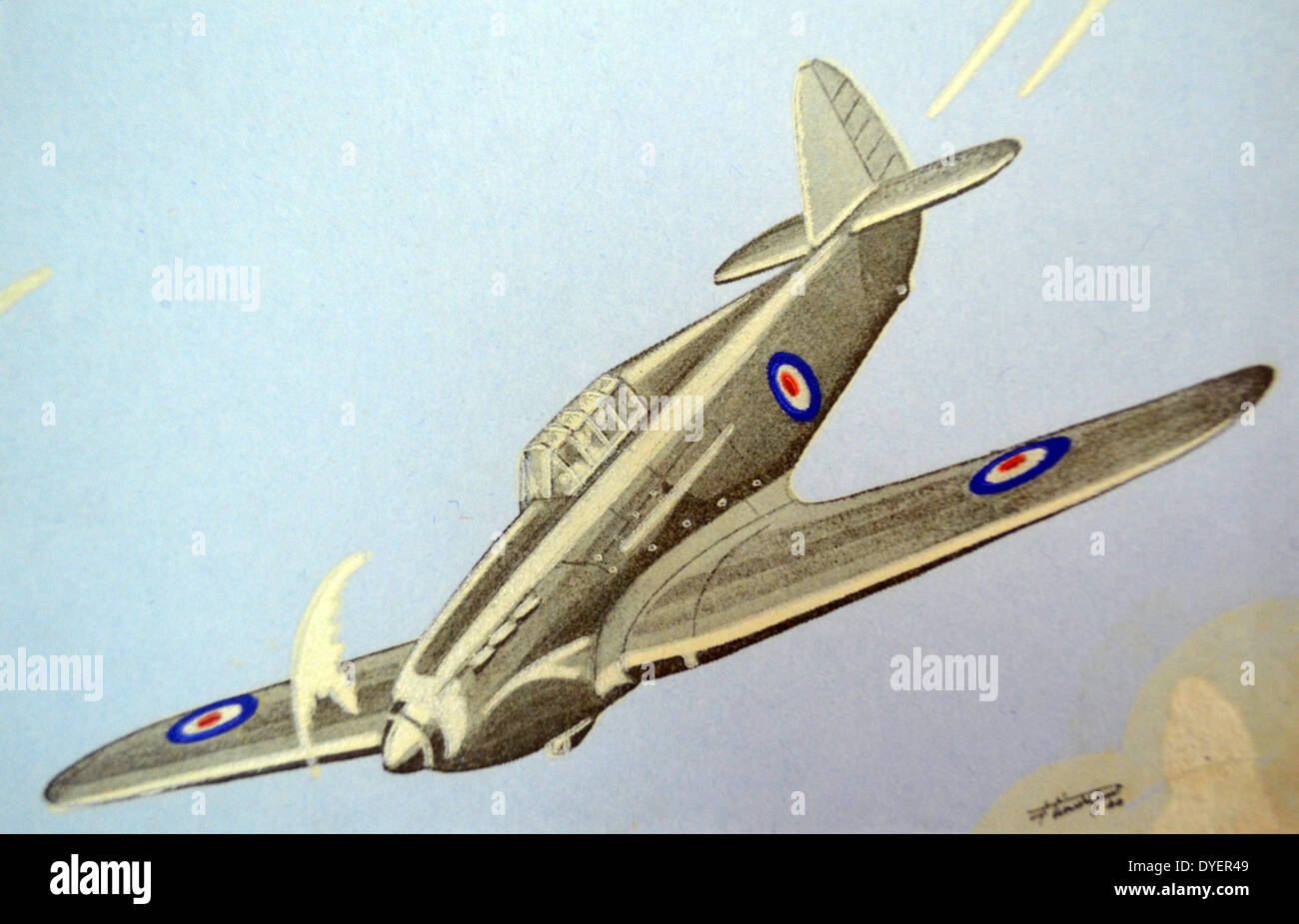 World War Two: French postcard depicting a British RAF Hawker Hurricane aircraft. - Stock Image