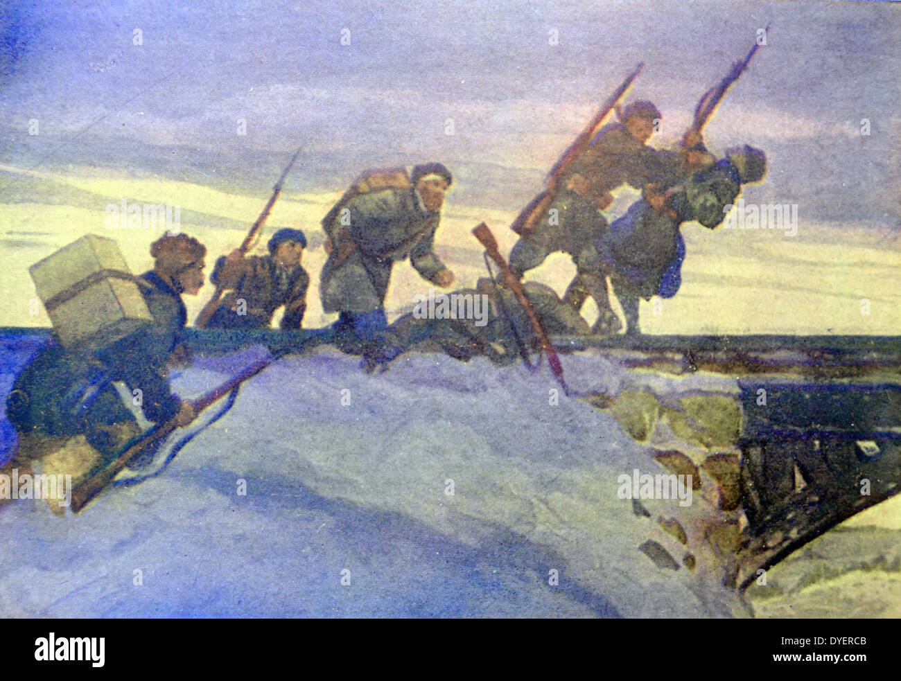 World War Two: Patriotic Russian war postcard depicting Russian soldiers attacking a German lookout post - Stock Image