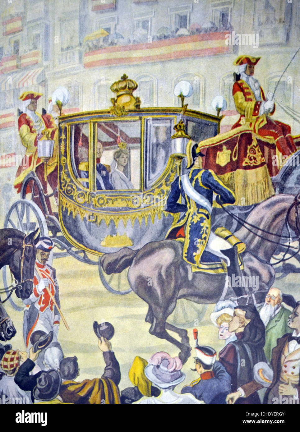 Opening of the Spanish parliament by the King and queen of Spain 1914 - Stock Image