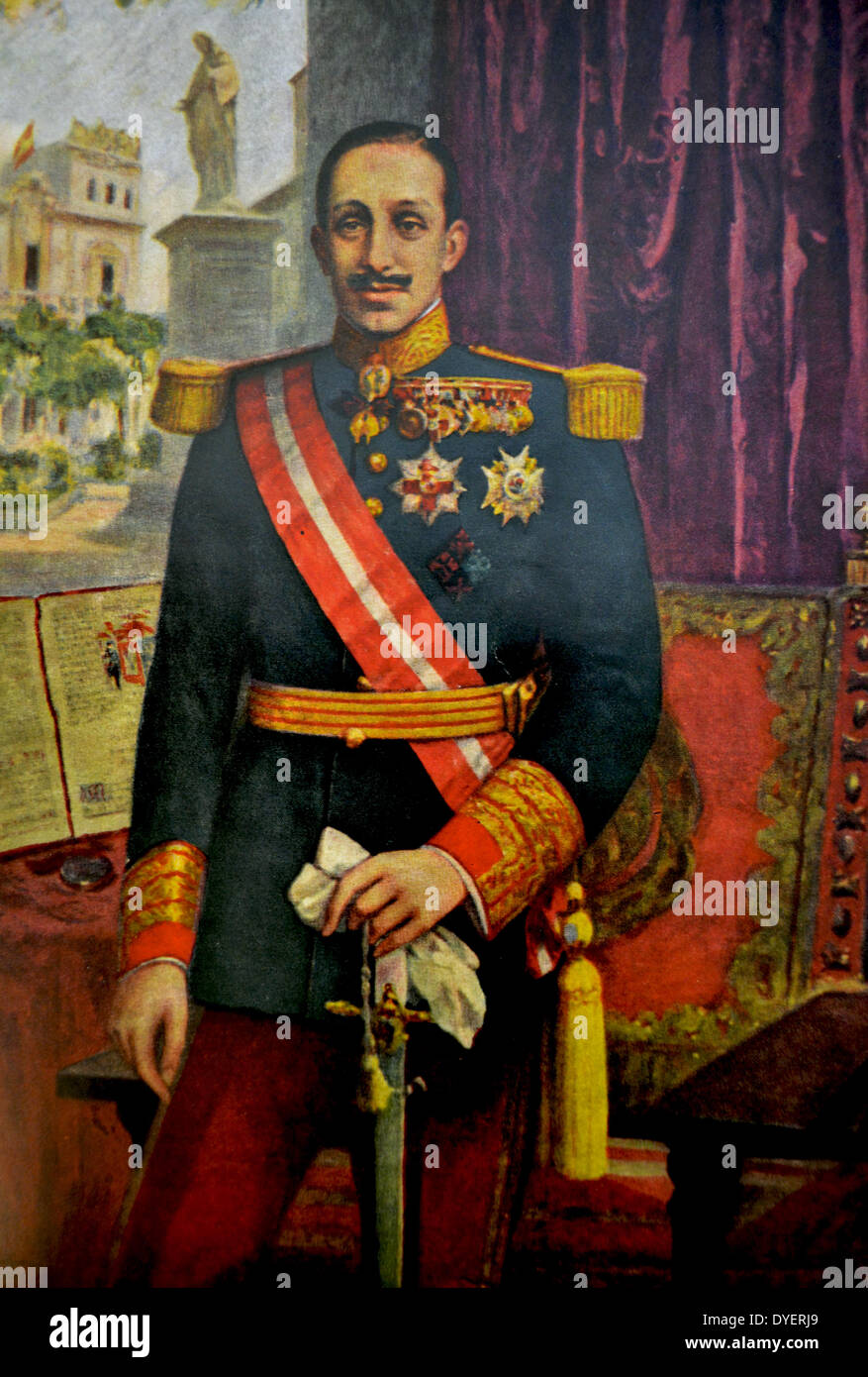 Alfonso XIII  17 May 1886 – 28 February 1941) was King of Spain from 1886 until 1931. - Stock Image
