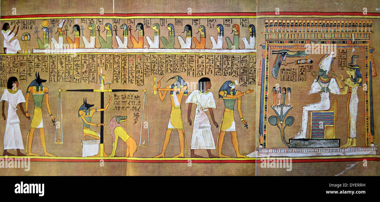Scroll of Hunefer, Egyptian Book of the Dead - Stock Image