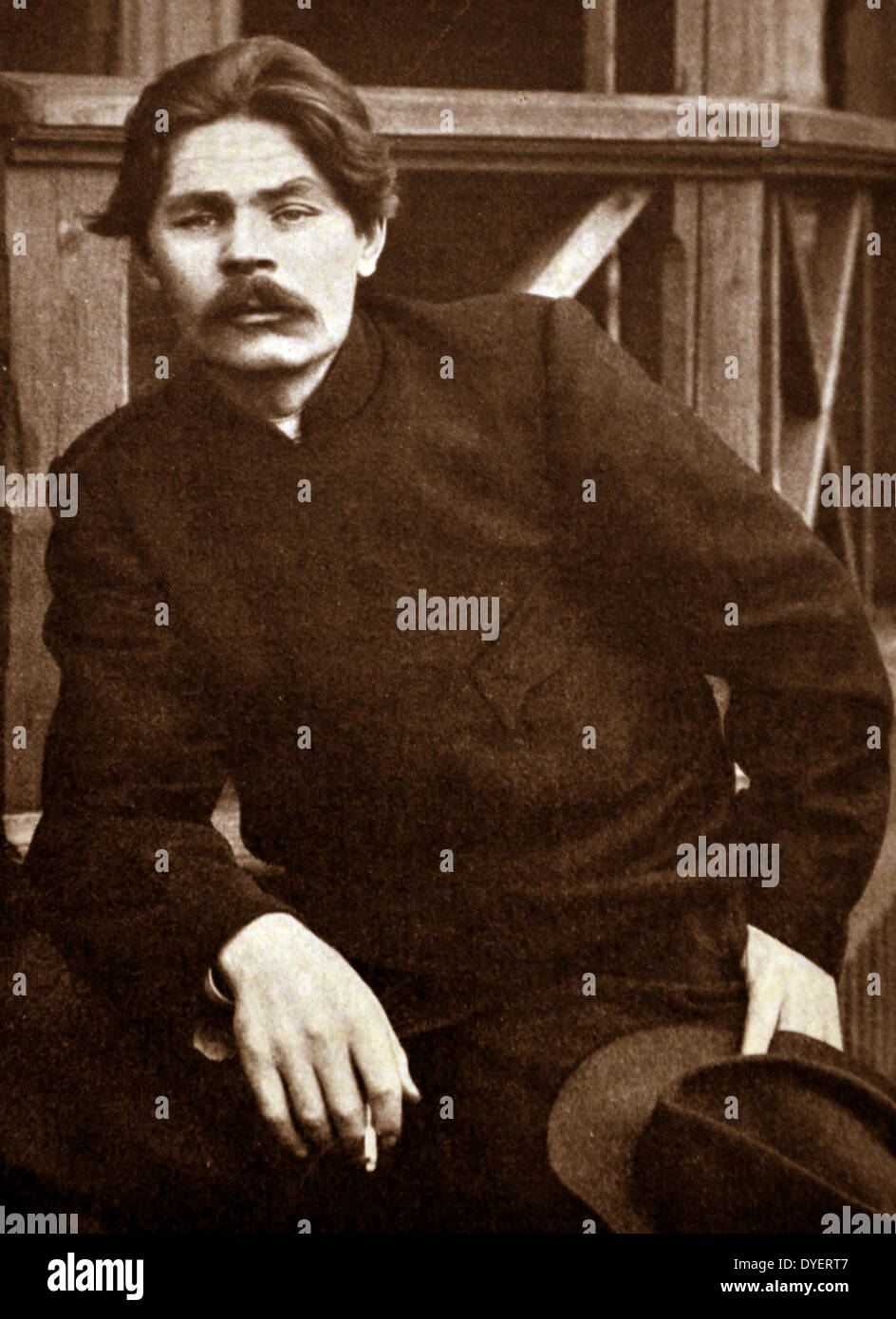 Maxim Gorky (1868-1936) was Russian and Soviet writer, a founder of Socialist realism literary method and a political activist - Stock Image