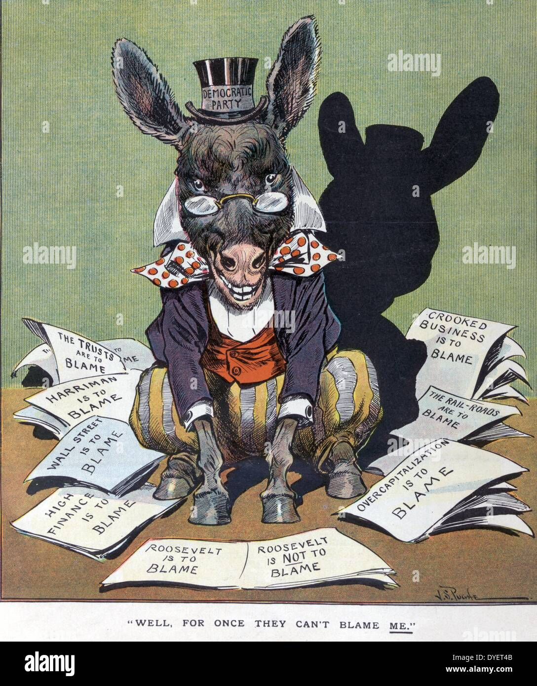 Well, for once they can't blame me by J.S. Pughe 1907. shows the Democratic donkey labelled Democratic Party sitting among - Stock Image