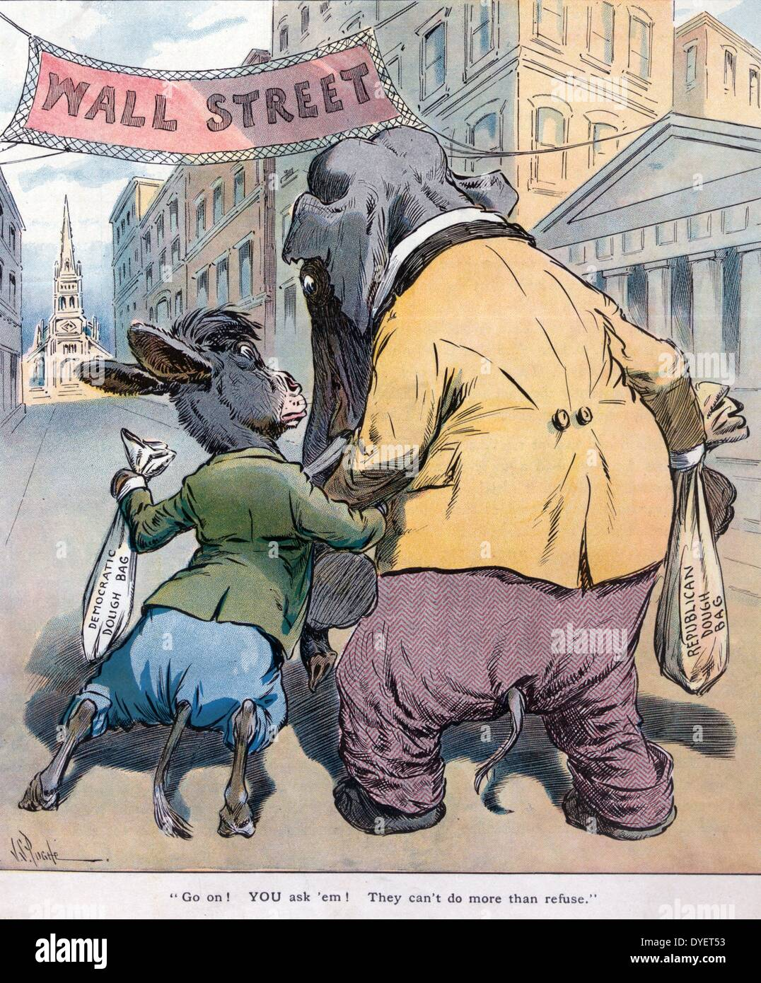Go on! You ask 'em! They can't do more than refuse by J S Pughe, 1870-1909, artist. Published 1908. The Democratic donkey - Stock Image