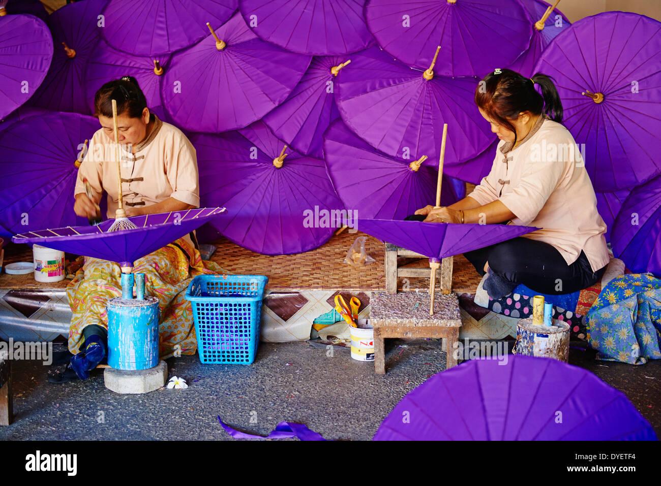 Thailand, Chiang Mai, umbrella at Borsang Handicraft Village - Stock Image