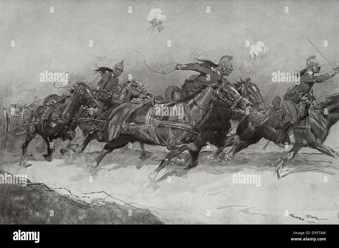 French cavalry in action; World War One 19140101 - Stock Image