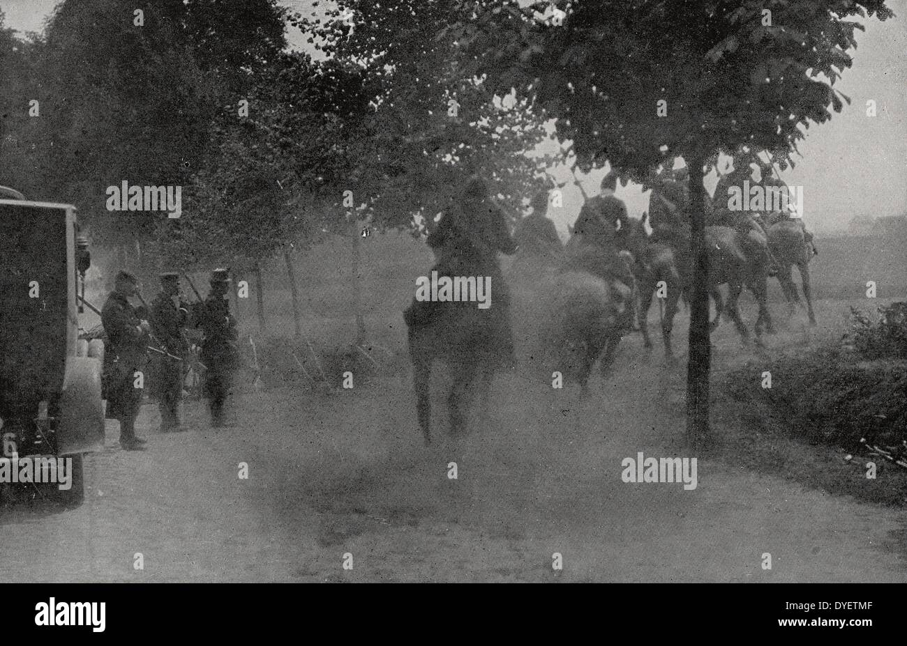 Belgian cavalry, exhausted by the engagement and the advance of the German army. 19140101 - Stock Image